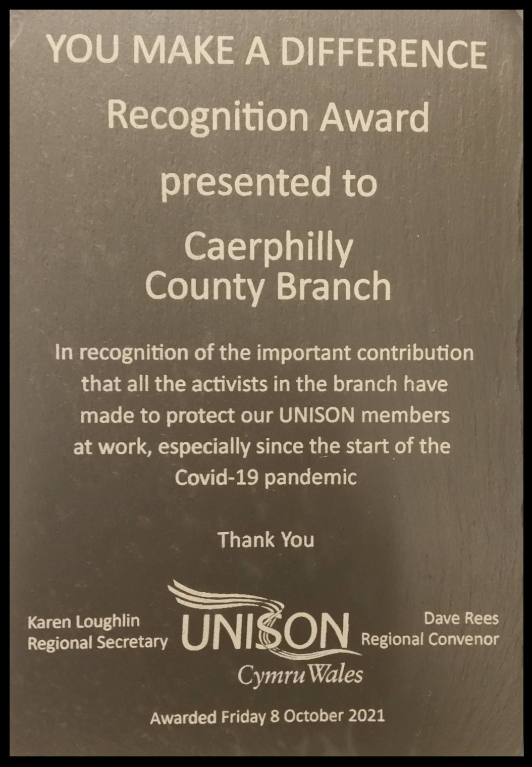 Caerphilly Branch Award 2021